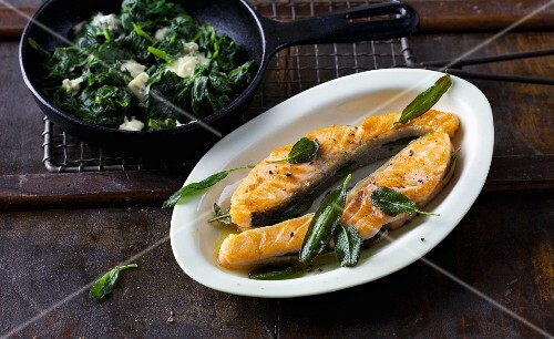 Salmon saltimboca with sage and gorgonzola-spinach