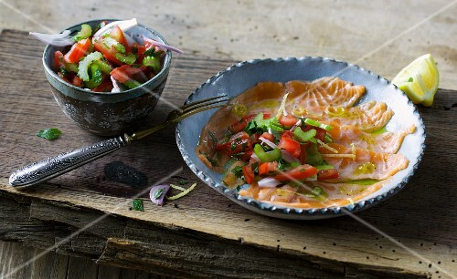 Salmon ceviche with a tomato and celery salsa