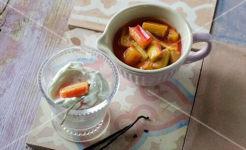 Vanilla quark with rhubarb compote