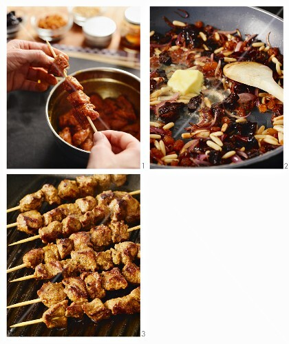 Lamb skewers with dried fruit and pine nuts being made (Arabia)