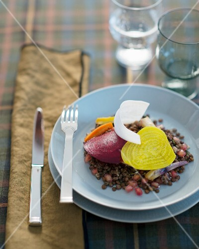 Lentil salad with beetroot and pomegranate seeds