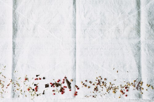 Various spices on the edge of a picture on a white cloth