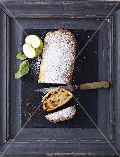 Apple strudel with sultanas, cinnamon and walnuts