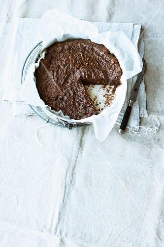 Aubergine and chocolate cake with candied orange peel