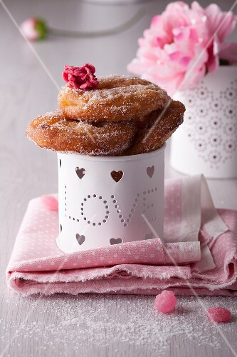 Apple doughnuts with sugar for Valentine's Day