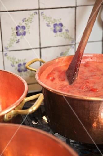 Jam cooking in copper pots, Alsace