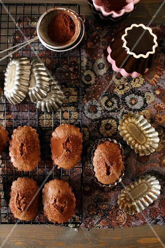 Madeleines with cocoa powder