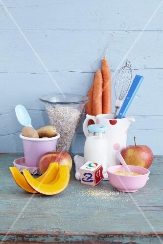 Various ingredients for baby food