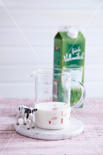 200 ml milk in a measuring jug