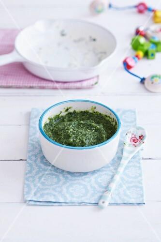 Spinach and fish mush
