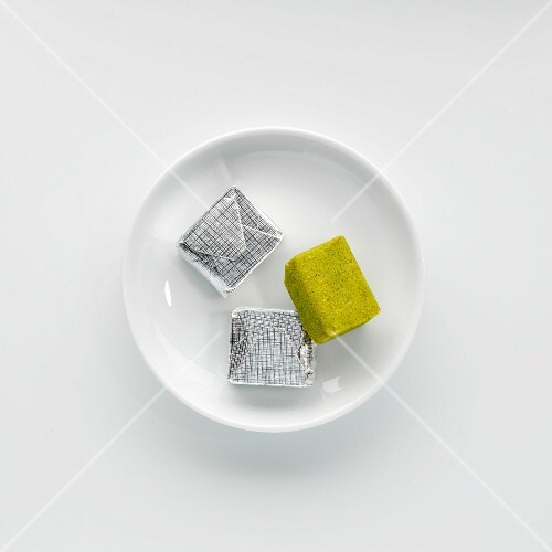 Vegan stock cubes on a plate
