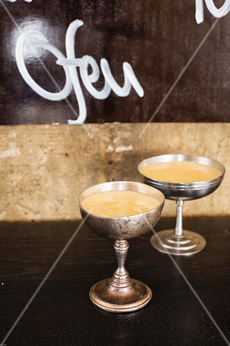 Two goblets of egg liqueur