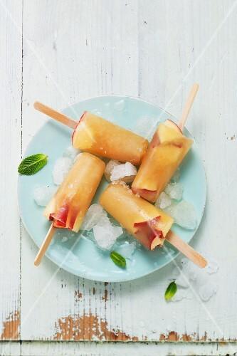Homemade apple ice cream sticks with mint