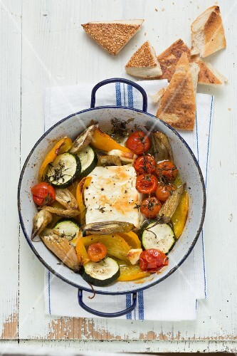 Oven-roasted vegetables with sheep's cheese