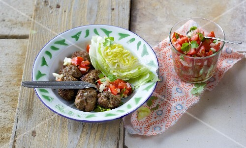 Mexican beef meatballs with a tomato and onion salsa