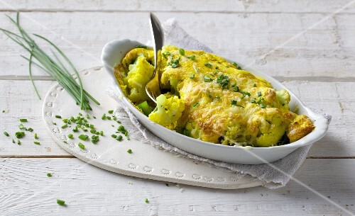 Cauliflower and quark bake with green peppers