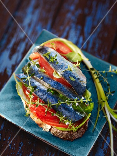 A sliced of bread topped with sardines and tomatoes