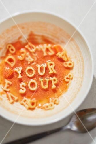 Tomato soup with alphabet pasta
