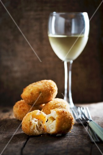 Rice croquette with cheese