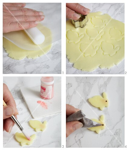 Easter bunnies being made from fondant icing