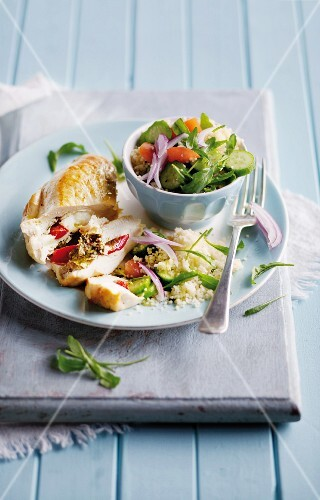 Chicken breast filled with rocket, peppers and Parmesan