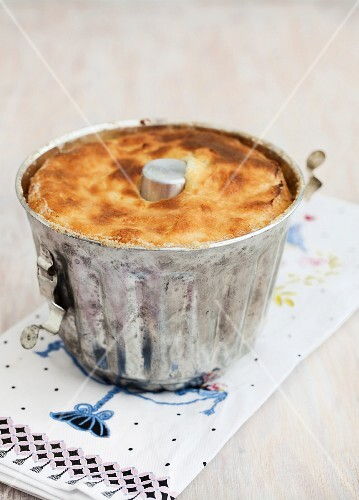 Semolina pudding in a baking tin