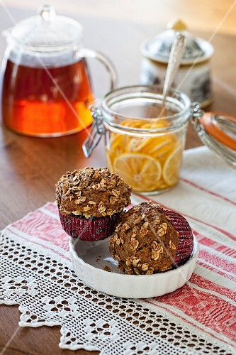 Carrot and lemon muffins with oats for breakfast