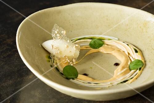 Buttermilk and barley molasses, 'Vue de Monde' restaurant, Melbourne, Australia
