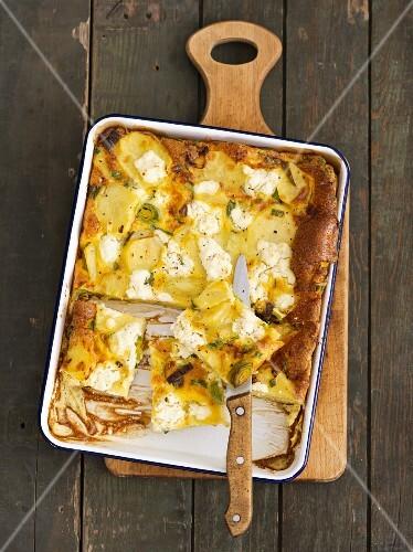 Potato and leek fritatta with feta cheese