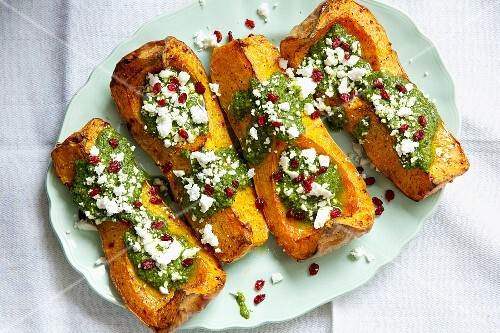 Baked butternut squash with feta cheese