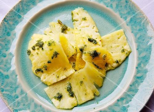 Pineapple carpaccio with pesto