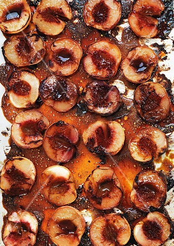Roasted peaches (seen from above)