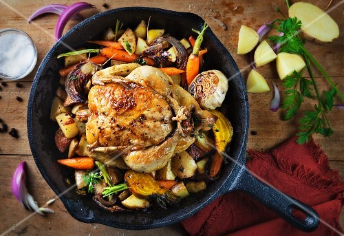 Cornish spring chicken with oven-roasted vegetables