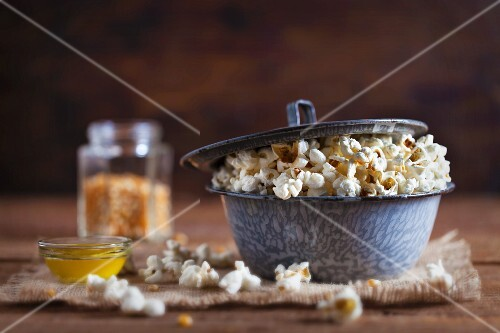 Homemade popcorn with clarified butter