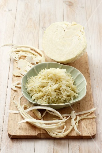Sauerkraut and fresh white cabbage