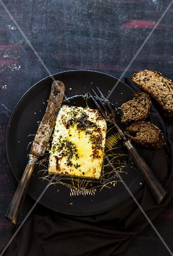 Roasted feta with oregano, olive oil and bread