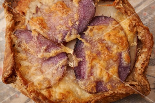 Savoury purple potato and cheese tart from Vermont, USA