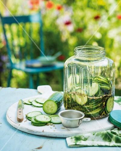 Pickled gherkins in jar