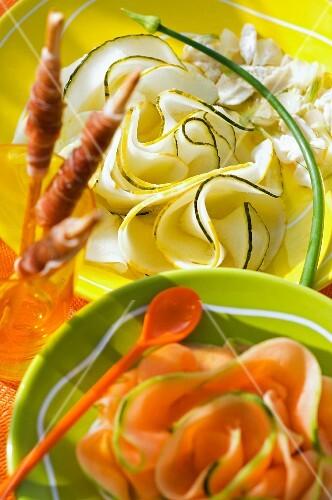 Melon carpaccio and grissini with Parma ham