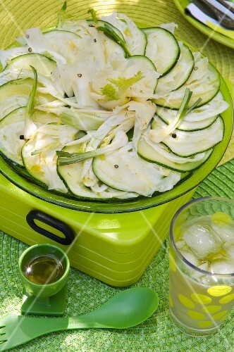 Vegetable carpaccio with courgette and spring onions