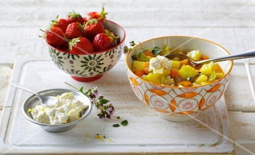 Potato stew with ricotta with fresh strawberries for dessert