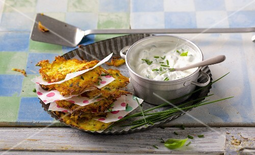 Potato and parsnip cakes with fresh herb quark