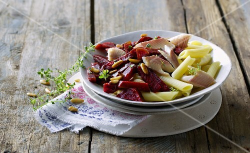 Penne with beetroot and smoked trout