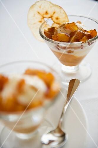 Caramelised apple with vanilla ice cream