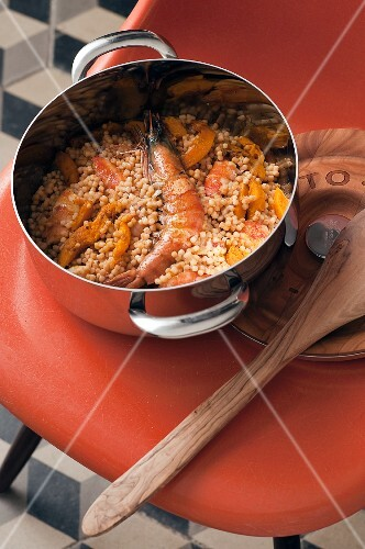 Quinoa with prawns and butternut squash