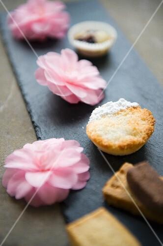 Almond tartlets between pink flowers