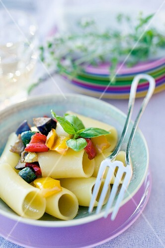 Paccheri with vegetables and basil