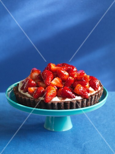 Chocolate tart topped with strawberries