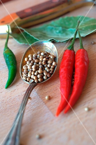 Coriander seeds and fresh chillis