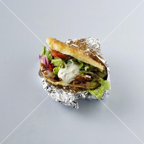 A donner kebab in tin foil